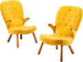 Furniture, Manner of Philip Arctander (Dutch, 1916-1994). Pair of Rare Lounge Chairs, circa 1950. Beech, upholstery. 37-1/4 x 23 x ... (Total: 2 Items)