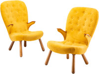 Manner of Philip Arctander (Dutch, 1916-1994) Pair of Rare Lounge Chairs, circa 1950 Beech, upholste