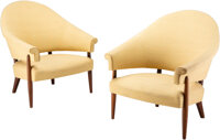 Danish School (20th Century) Pair of Lounge Chairs, mid 20th century Stained oak, upholstery 34 x