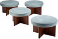 Furniture, Frank Lloyd Wright (American, 1867-1959). Four Taliesin Stools, circa 1955, Henredon. Mahogany, upholstery . 16 x 26 inc... (Total: 4 Items)