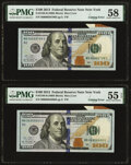 Error Notes:Miscellaneous Errors, Cutting Error Fr. 2188-B $100 2013 Federal Reserve Notes. Two Consecutive Examples. PMG Choice About Unc 58; About Uncirculate... (Total: 2 notes)