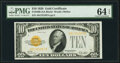 Small Size:Gold Certificates, Fr. 2400 $10 1928 Gold Certificate. PMG Choice Uncirculated 64 EPQ.. ...