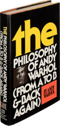 Books:Signed Editions, Andy Warhol. The Philosophy of Andy Warhol (From A to B & Back Again). New York: Harcourt Brace Jovanovich, 1975...