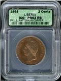 Liberia: , Liberia: Pattern 2 Cents 1868, KM-Pn16, Proof 63 red & brownICG....