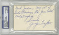 Football Collectibles:Others, George Trafton Signed Index Card. This Pro Football Hall of Famer is credited as the first center to snap the ball with one...