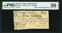 North Carolina April 4, 1748 1 Shilling Denomination in Circle Fr. NC-56 PMG About Uncirculated 50 Net