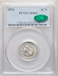 Three Cent Nickels, 1876 3CN MS64 PCGS. CAC. PCGS Population: (60/44). NGC Census: (39/22). CDN: $500 Whsle. Bid for NGC/PCGS MS64. Mintage 162...