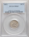 Three Cent Nickels: , 1872 3CN MS63 PCGS. PCGS Population: (77/115). NGC Census: (34/76). CDN: $225 Whsle. Bid for NGC/PCGS MS63. Mintage 861,000...