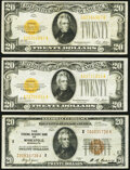 Fr. 1870-I $20 1929 Federal Reserve Bank Note. Very Fine; Fr. 2402 $20 1928 Gold Certificates. Two Examples. Ve