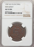 Colonials, 1787 NJERSY New Jersey Copper, No Sprig Above Plow, M. 32-T, W-5100, R.2, AU53 NGC. PCGS Population: (0/...