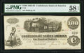 Confederate Notes:1862 Issues, T40 $100 1863 PF-20 Cr. 308 PMG Choice About Unc 58 EPQ.. ...