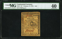 Continental Currency February 17, 1776 $1/6 PMG Extremely Fine 40