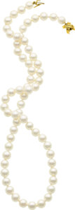 Estate Jewelry:Necklaces, Cultured Pearl, Gold Necklace, Tiffany & Co.. ...