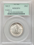 Standing Liberty Quarters, 1917 25C Type Two MS63 Full Head PCGS. PCGS Population: (294/796). NGC Census: (179/463). CDN: $310 Whsle. Bid for NGC/PCGS...