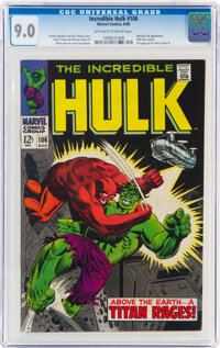 The Incredible Hulk #106 (Marvel, 1968) CGC VF/NM 9.0 Off-white to white pages