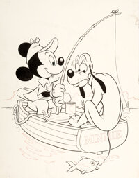 Dick Moores Mickey Mouse #37 Mickey and Pluto Cover Original Art (Dell, 1954).... (Total: 2 Items)