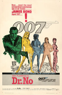 """Dr. No (United Artists, 1962). Fine/Very Fine on Linen. One Sheet (27"""" X 41"""") White Smoke Style, Mitchell Hook..."""