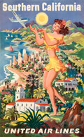 "Movie Posters:Miscellaneous, United Airlines: Southern California (United Airlines, Late 1940s). Very Fine- on Linen. Full-Bleed Travel Poster (25"" X 40...."