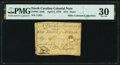 Colonial Notes:North Carolina, North Carolina April 2, 1776 $1/8 Steer Fr. NC-154h PMG Very Fine 30.. ...