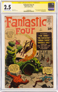 Silver Age (1956-1969):Superhero, Fantastic Four #1 Signature Series (Marvel, 1961) CGC GD+ 2.5 Off-white to white pages....