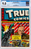 Golden Age (1938-1955):Non-Fiction, True Comics #43 (True, 1945) CGC VF/NM 9.0 Off-white to white pages....