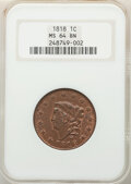 Large Cents: , 1818 1C MS64 Brown NGC. NGC Census: (88/14). PCGS Population: (74/27). CDN: $850 Whsle. Bid for NGC/PCGS MS64. Mintage 3,16...