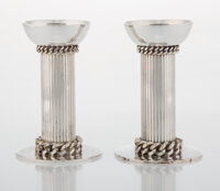 Jean Després (French, 1889-1980) Pair of Candlesticks Silver-plated metal 5-1/4 x 3-1/2 x 3-1/2 i