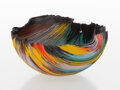 Glass, Toots Zynsky (American, b. 1951). Vessel, circa 1990. Filet-de-verre. 5-1/2 x 11-1/4 inches (14.0 x 28.6 cm). Applied ...