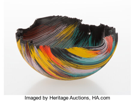 Toots Zynsky (American, b. 1951) Vessel, circa 1990 Filet-de-verre 5-1/2 x 11-1/4 inches (14.0 x 28.6 cm) Applied ...