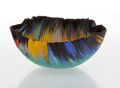 Glass, Toots Zynsky (American, b. 1951). Vessel, circa 1990. Filet-de-verre. 5-3/4 x 12-3/4 inches (14.6 x 32.4 cm). Applied ...
