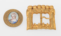 Line Vautrin (French, 1913-1997) The Chorus of Angels Belt Buckle and Brooch, circa 1945 Gilt bronze