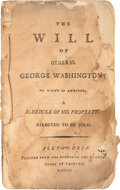 Books:Americana & American History, [George Washington, subject]. The Will of General George Washington: to Which is Annexed, a Schedule of His Proper...