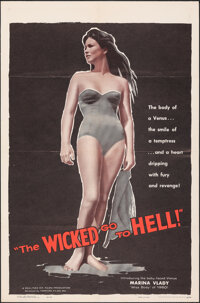 "The Wicked Go to Hell (Fanfare, 1955). Very Fine on Chartex. One Sheet (27"" X 41""). Exploitation"