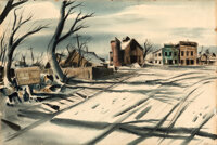 It's a Wonderful Life by William Cameron Menzies (RKO, 1946). Very Fine. Original Signed Mixed Media Set Rendering on Il...