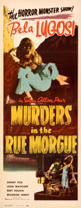 "Movie Posters:Horror, Murders in the Rue Morgue (Realart, R-1948). Folded, Very Fine. Insert (14"" X 36"").. ..."