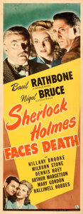 Movie Posters:Mystery, Sherlock Holmes Faces Death (Universal, 1943). Folded, Fin...