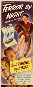 "Movie Posters:Mystery, Terror by Night (Universal, 1946). Folded, Very Fine+. Insert (14"" X 36"").. ..."