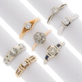 Estate Jewelry:Rings, Diamond, Synthetic Sapphire, Gold Rings. ... (Total: 7 Items)