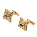 Estate Jewelry:Cufflinks, Sapphire, Diamond, Gold Cuff Links . ...