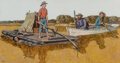 Paintings, Amos Sewell (American, 1901-1983). Huckleberry Finn. Mixed media on board. 11-1/4 x 21-1/2 inches (28.6 x 54.6 cm). Sign...