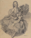 Works on Paper, Gil Elvgren (American, 1914-1980). Miss Sylvania study. Charcoal on vellum. 23-1/2 x 18-3/4 inches (59.7 x 47.6 cm). Sig...