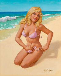 Arthur Saron Sarnoff (American, 1912-2000) Pin-up in Pink, 1993 Oil on canvas 30 x 24 inches (76