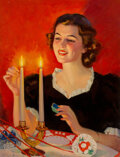 Paintings, Frederick Sands Brunner (American, 1886-1954). Lighting the Candles, This Week magazine cover, December 13, 1936. Oil on...