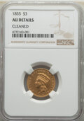 Three Dollar Gold Pieces: , 1855 $3 -- Cleaned -- NGC Details. AU. Mintage 50,555. ...