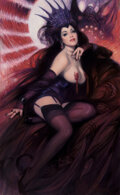 Pin-Up and Glamour Art, Richard Williams (American, 20th Century). Dark Queen, 2018. Oil on canvas. 52 x 32 inches (132.1 x 81.3 cm). Signed low...