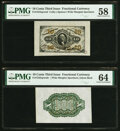 Fractional Currency:Third Issue, Fr. 1253SP/55SP 10¢ Third Issue Wide Margin Specimen Pair PMG Graded.. ... (Total: 2 notes)