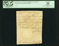 North Carolina November 27, 1729 3 Pounds Handwritten Contemporary Counterfeit Fr. NC-33 PCGS Apparent Very Fine 30