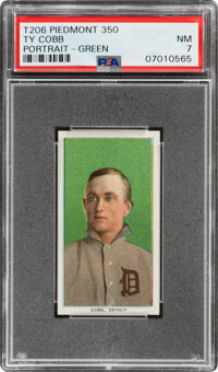 1909-11 T206 Piedmont 350 Ty Cobb (Portrait-Green) PSA NM 7 - Pop One, One Higher With This Brand & Series