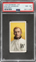 Baseball Cards:Singles (Pre-1930), 1909-11 T206 Piedmont 150 Walter Johnson (Portrait) PSA NM-MT 8 - Pop One, Two with This Brand & Series....