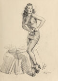 Works on Paper, Gil Elvgren (American, 1914-1980). I Must Be Going to Waist (Waisted Effort) study, 1946. Charcoal on vellum. 26 x 20-1/...